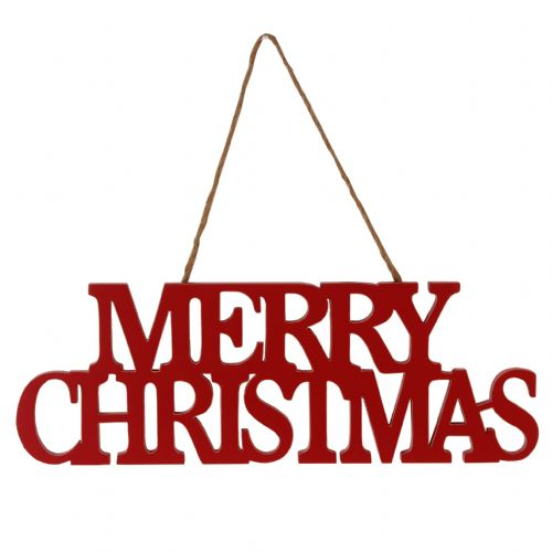Red Wooden Hanging 'Merry Christmas' Sign - Nordic Style Christmas Decorations